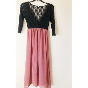 New small boutique lace black and pink long dress